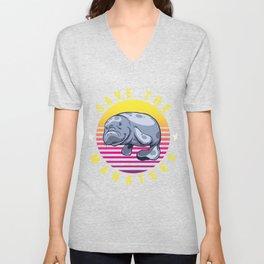 Manatee Aquatic Marine Mammals Herbivore Gift Save The Manatees Funny Animal  Unisex V-Neck
