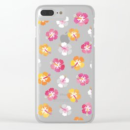 CANDY COLORED HIBISCUS on NAVY Clear iPhone Case