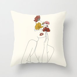 Colorful Thoughts Minimal Line Art Woman with Flowers Throw Pillow