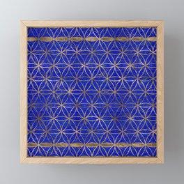 Flower of life pattern - Lapis Lazuli and Gold Framed Mini Art Print