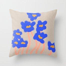 Strange blue flowers Throw Pillow