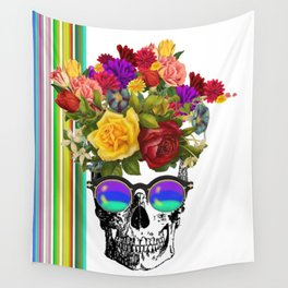 Colorful Cool Hip Skull with flowers Wall Tapestry