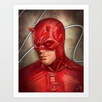 daredevil Art Prints featuring Daredevil by Vanessa Seixas