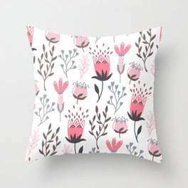 Pink and Gray Tulips Throw Pillow