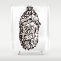chewbacca Shower Curtains featuring Hipster Chewbacca  by LaurenNoakes