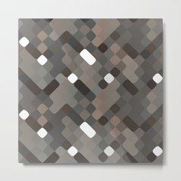 Chic Taupe White Gray Round Squares Pattern Metal Print