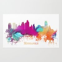 minneapolis Area & Throw Rugs featuring Minneapolis skyline watercolor by jbjart