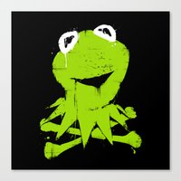 kermit Canvas Prints featuring Pochoir - Kermit by Krikoui