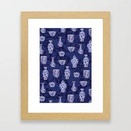 Blue & White Chinoiserie/ Delftware Pottery Pattern Framed Art Print