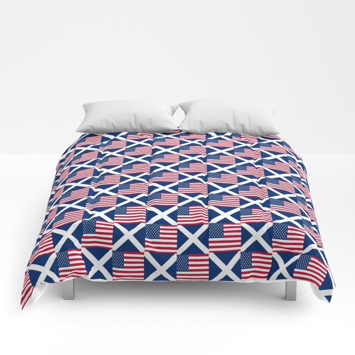 Mix of flag : usa and scotland Comforters