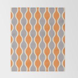 Classic Retro Ogee Pattern 852 Orange and Gray Throw Blanket