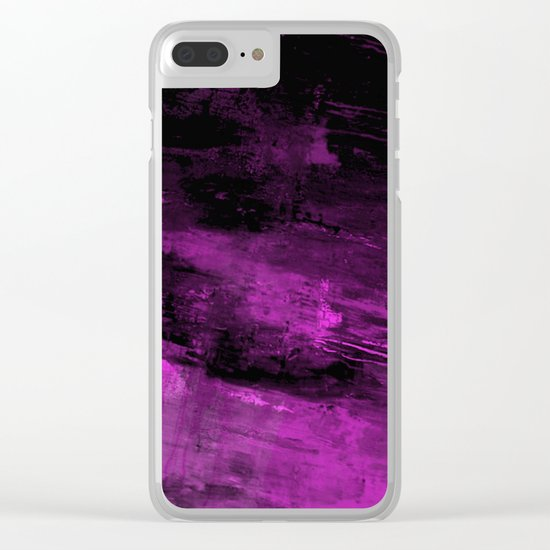 Purple Haze - Abstract, purple and black painting Clear iPhone Case