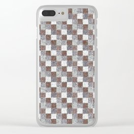 Rustic Brown Gray Beige Patchwork Clear iPhone Case