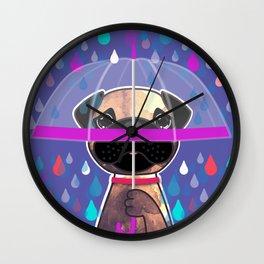 Rainy Daze Pug Wall Clock