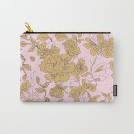 Mustard Pink Vintage Floral Carry-All Pouch