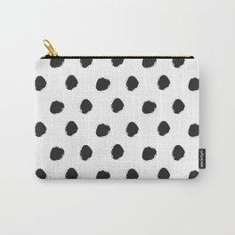 Black white hand painted watercolor polka dots Carry-All Pouch