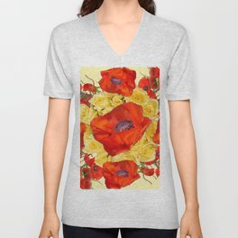 ORANGE POPPY FLOWERS GARDEN YELLOW ROSES ART Unisex V-Neck