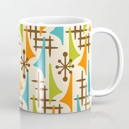 Retro Mid Century Modern Atomic Wing Pattern 421 Brown Orange Turquoise and Olive Green Coffee Mug