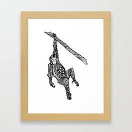 Swinging Chimpanzee Zentangle (abstract doodle) Framed Art Print