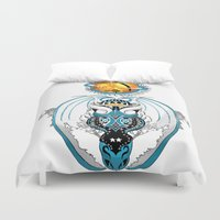 skyfall Duvet Covers featuring Cosmic Smoking Skyfall Dragon by Pr0l0gue