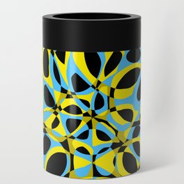 yellow blue circle pattern Can Cooler