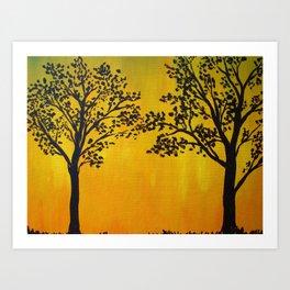 Golden Tree Silhouette Art Print
