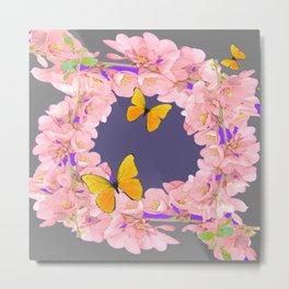 GREY PURPLE ACCENTS PINK GARDEN FLOWERS Metal Print