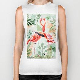 Flamingo Love Biker Tank