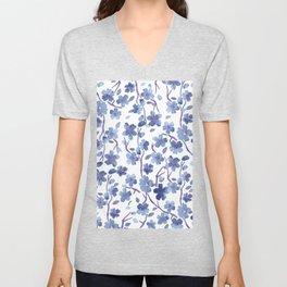 Blue Flowers 4 Unisex V-Neck