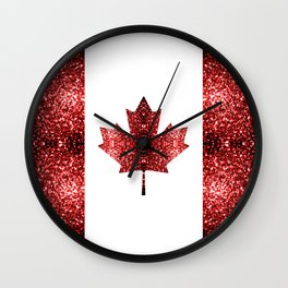 Canada flag red sparkles Wall Clock