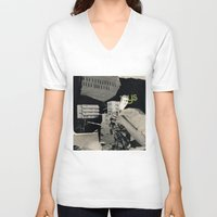 architect V-neck T-shirts featuring Behind the architect III by Paul Prinzip