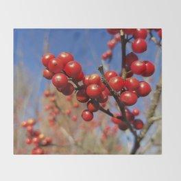 Winterberries glow against a blue autumn sky Throw Blanket