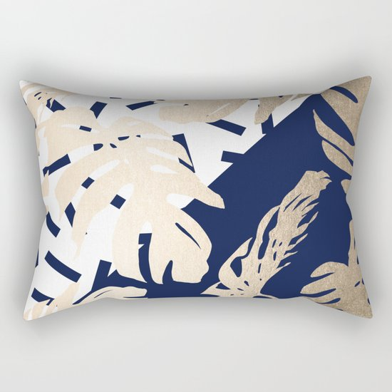 Simply Tropical Nautical Navy Memphis Palm Leaves Rectangular Pillow