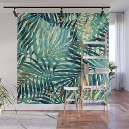 Tropical Jungle Palm Leaves, Indigo Navy Blue and Teal Wall Mural
