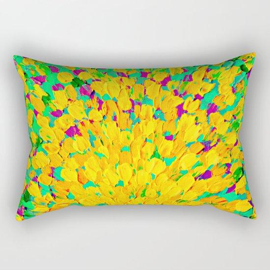 SPRING SPLASH - Bright Cheerful Lime Sunshine Yellow Lavender Lilac Purple Ocean Beach Waves Rectangular Pillow
