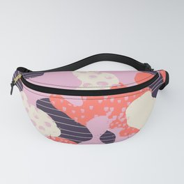 Modern abstract coral purple beige color trend camo camouflage stripes polka dots pattern Fanny Pack