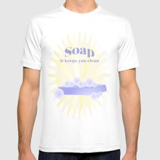 Soap... It Keeps You Clean MEDIUM Mens Fitted Tee White