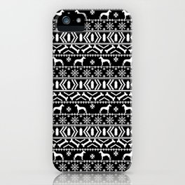 Great Dane fair isle christmas holiday black and white minimal pattern gifts for dog lover iPhone Case