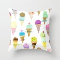 ice cream Throw Pillows featuring Ice cream  by maria carluccio