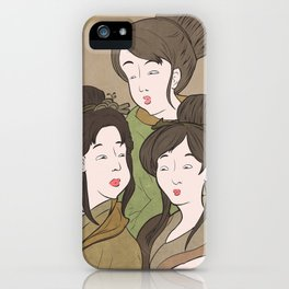Japanese Prints Inspired - Painting of The Three Muses iPhone Case