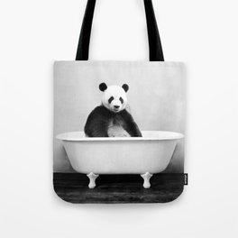 Panda in a Vintage Bathtub (bw) Tote Bag