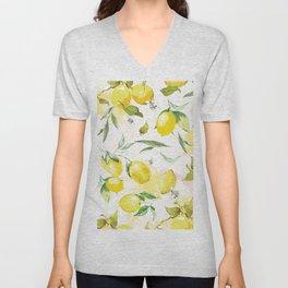 Watercolor lemons Unisex V-Neck