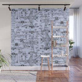 F-18 Blueprints // Light Blue Wall Mural