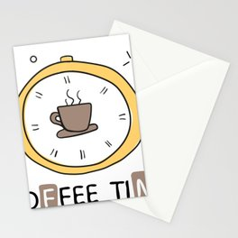 Coffee Time Clock Stationery Cards