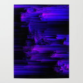 Ultraviolet Light Speed - Abstract Glitch Pixel Art Poster
