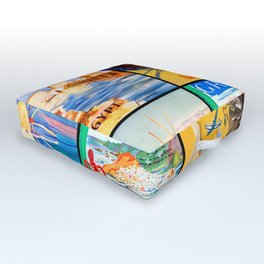 Retro travel mosaic pattern Outdoor Floor Cushion