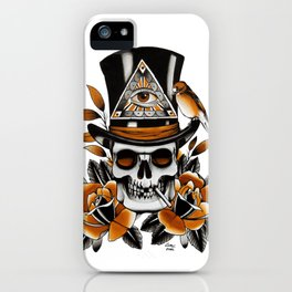 Smoking skull and roses iPhone Case
