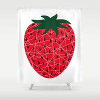 strawberry Shower Curtains featuring Strawberry by Dpat Designs