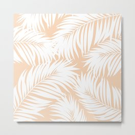 Palm Tree Fronds White on Peach Hawaii Tropical Décor Metal Print