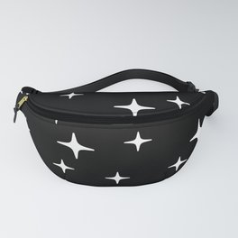 Mid Century Modern Star Pattern 443 Black and White Fanny Pack